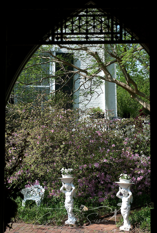 A view of the garden path from inside the plantation chapel at Rosewood Manor in Columbus, Miss. April 16, 2010. The 1835 Greek-Revival antebellum mansion was among nearly two dozen on tour during Columbus' annual Spring Pilgrimage. (Photo by Carmen K. Sisson/Cloudybright)