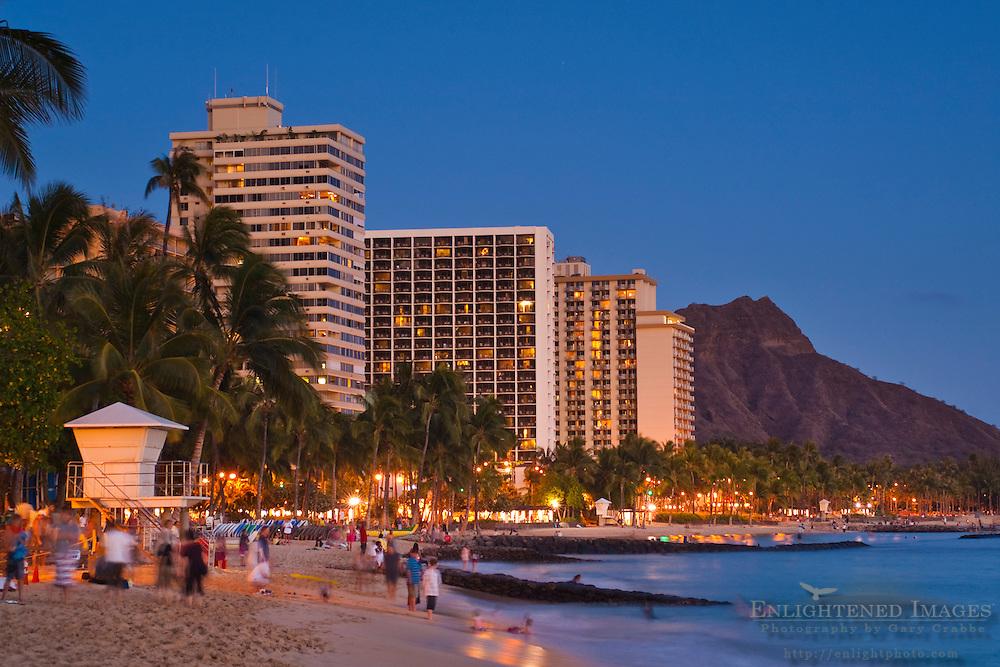 Evening light over Diamond Head and Waikiki Beach, Honolulu, Oahu, Hawaii