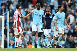 Yaya Toure of Manchester City shakes hands with Ramadan Sobhi of Stoke City at full time - Mandatory by-line: Matt McNulty/JMP - 14/10/2017 - FOOTBALL - Etihad Stadium - Manchester, England - Manchester City v Stoke City - Premier League