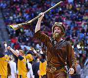 SAN DIEGO, CA - MARCH 18:  The West Virginia Mountaineers mascot The Mountaineer performs during a second round game of the Men's NCAA Basketball Tournament against the Marshall Thundering Herd at Viejas Arena in San Diego, California. West Virginia won 94-71.  (Photo by Sam Wasson)
