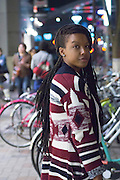 A young lady in the fashionable shopping district of Sakae Nagoya, in the early evening.