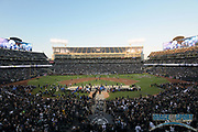 Sep 10, 2018; Oakland, CA, USA; General overall view of the Oakland-Alameda County Coliseum during the NFL game between the Los Angeles Rams and the Oakland Raiders.