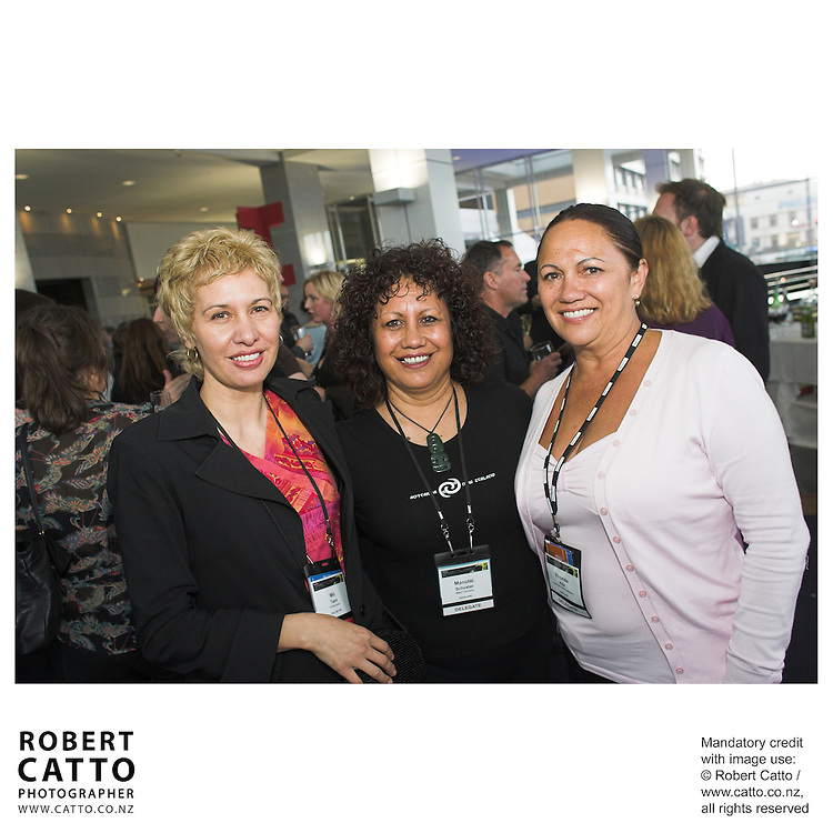 Mei Taare;Manutai Schuster;Rhonda Kite at the Spada Conference 06 at the Hyatt Regency Hotel, Auckland, New Zealand.<br />