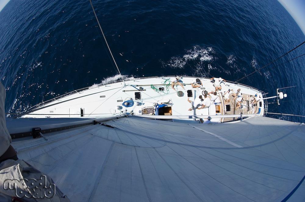 Sailboat at sea fisheye lens view from above