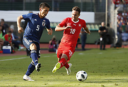 LUGANO, June 9, 2018  Switzerland's Mario Gavranovic (R) vies with Japan's Yuko Nagatomo during the international friendly match at the Stadium Cornaredo in Lugano, southern Switzerland June 8, 2018. Switzerland won 2-0. (Credit Image: © Ruben Sprich/Xinhua via ZUMA Wire)