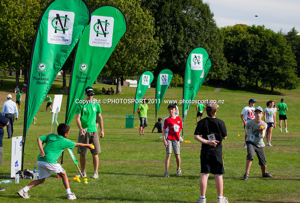 Intermediate catching skills session during the NCC Super Camp, an initiative by The National Bank to connect with the grass roots of cricket, hosted by Hamilton Star University Cricket Club, Waikato University, Hamilton, New Zealand, Wednesday 5 January 2011. Photo: Stephen Barker/PHOTOSPORT