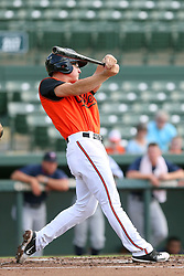 July 17, 2018 - Sarasota, FL, U.S. - Sarasota, FL - JUL 17: Jared Gates (18) of the Orioles at bat during the Gulf Coast League (GCL) game between the GCL Twins and the GCL Orioles on July 17, 2018, at Ed Smith Stadium in Sarasota, FL. (Photo by Cliff Welch/Icon Sportswire) (Credit Image: © Cliff Welch/Icon SMI via ZUMA Press)