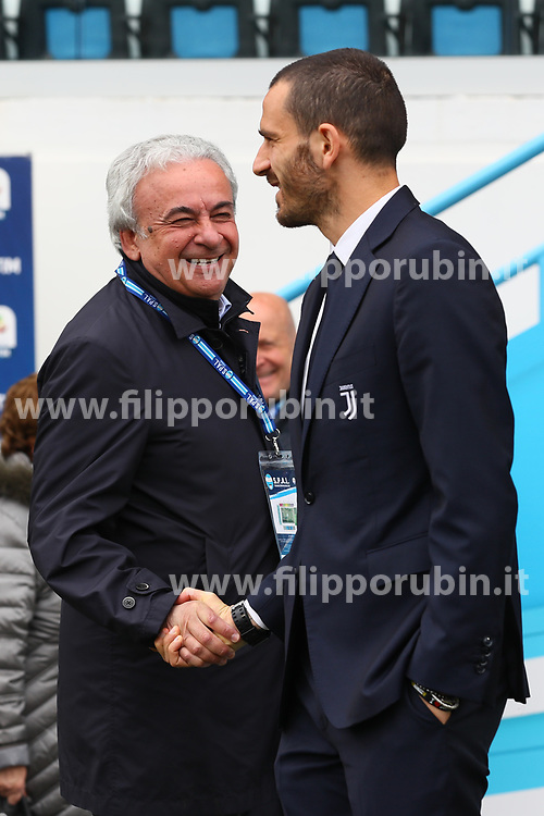 "Foto LaPresse/Filippo Rubin<br /> 13/04/2019 Ferrara (Italia)<br /> Sport Calcio<br /> Spal - Juventus - Campionato di calcio Serie A 2018/2019 - Stadio ""Paolo Mazza""<br /> Nella foto: WALTER MATTIOLI E LEONARDO BONUCCI (JUVENTUS)<br /> <br /> Photo LaPresse/Filippo Rubin<br /> April 13, 2019 Ferrara (Italy)<br /> Sport Soccer<br /> Spal vs Juventus - Italian Football Championship League A 2018/2019 - ""Paolo Mazza"" Stadium <br /> In the pic: WALTER MATTIOLI WITH LEONARDO BONUCCI (JUVENTUS)"