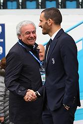 """Foto LaPresse/Filippo Rubin<br /> 13/04/2019 Ferrara (Italia)<br /> Sport Calcio<br /> Spal - Juventus - Campionato di calcio Serie A 2018/2019 - Stadio """"Paolo Mazza""""<br /> Nella foto: WALTER MATTIOLI E LEONARDO BONUCCI (JUVENTUS)<br /> <br /> Photo LaPresse/Filippo Rubin<br /> April 13, 2019 Ferrara (Italy)<br /> Sport Soccer<br /> Spal vs Juventus - Italian Football Championship League A 2018/2019 - """"Paolo Mazza"""" Stadium <br /> In the pic: WALTER MATTIOLI WITH LEONARDO BONUCCI (JUVENTUS)"""