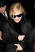 26.JANUARY.2010 - LONDON<br /> <br /> QUEEN OF POP MADONNA LEAVING SCOTT'S RESTAURANT, MAYFAIR WITH SUNGLASSES ON AND AS SHE WAS GETTING IN THE HER CAR SHE HAD A LITTLE GIGGLE TO HERSELF.<br /> <br /> BYLINE: EDBIMAGEARCHIVE.COM<br /> <br /> *THIS IMAGE IS STRICTLY FOR UK NEWSPAPERS & MAGAZINES ONLY*<br /> *FOR WORLDWIDE SALES & WEB USE PLEASE CONTACT EDBIMAGEARCHIVE - 0208 954 5968*