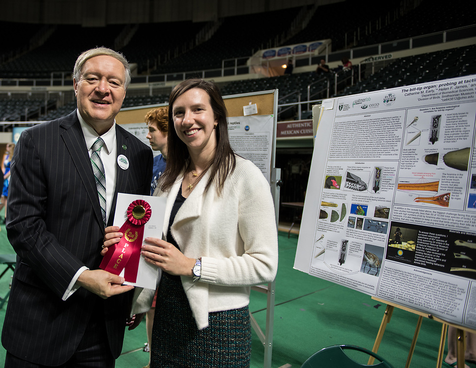 Catherine Early poses for a picture with Ohio University President Duane Nellis during the 2018 Student Research Expo.