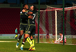Ellis Harrison of Bristol Rovers celebrates with teammate Liam Sercombe after scoring a goal to make it 3-1 - Mandatory by-line: Robbie Stephenson/JMP - 27/01/2018 - FOOTBALL - The Keepmoat Stadium - Doncaster, England - Doncaster Rovers v Bristol Rovers - Sky Bet League One