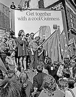 People's Democracy speaker addresses supporters after they were halted by soldiers and police from entering the city centre in Belfast, N Ireland. The march was in support of PD leaders Michael Farrell and Tony Canavan who were on hunger strike seeking political status in Belfast's Crumlin Road Jail.  29 July 1973, 197307290522a<br />