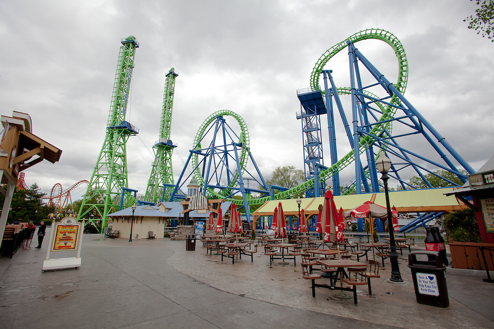 "The new ""Goliath"" roller coaster at Six Flags New England in Agawam Mass., is shown on Thursday May 10, 2012.  (Photo by Matthew Cavanaugh)"