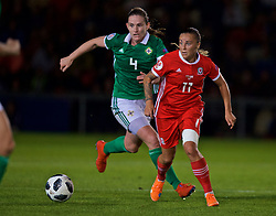 NEWPORT, WALES - Tuesday, September 3, 2019: Wales' Natasha Harding (R) and Northern Ireland's Sarah McFadden during the UEFA Women Euro 2021 Qualifying Group C match between Wales and Northern Ireland at Rodney Parade. (Pic by David Rawcliffe/Propaganda)