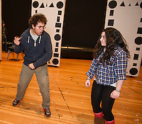 "Thomas Weiler and Joelle DelSignore during rehearsal for ""A Fever Dream of Creativity"" a student run improv and sketch show with the Players Comedy Club at Winnisquam Regional High School Wednesday afternoon.  (Karen Bobotas/for the Laconia Daily Sun)"