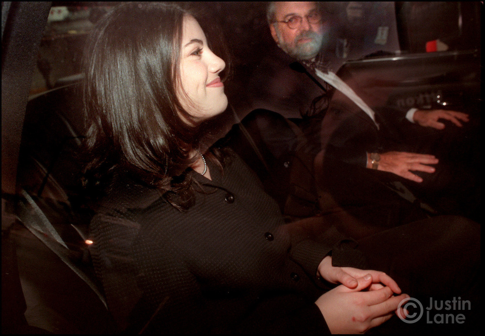 NYT-Washington--2/3/98--Attn:Natl--Lewinski/JSL Monica Lewinski and her lawyer William H. Ginsberg leave the Watergate this morning. Justin Lane/for The New York Times Note-Rumor is that she is heading for the airport to go to California. I can't confirm that.