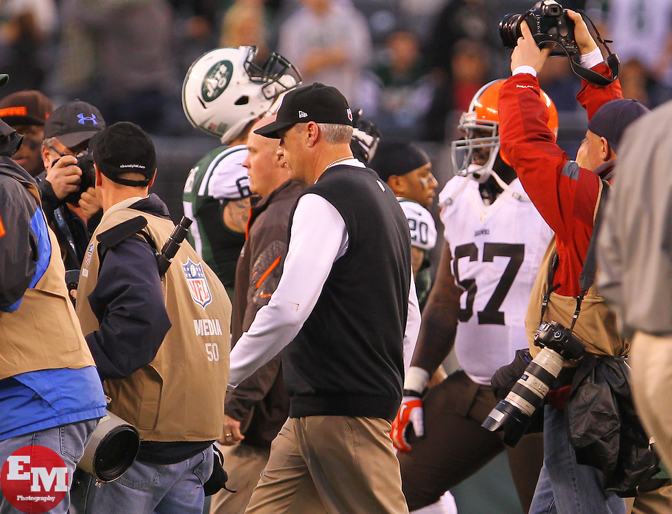 Dec 22, 2013; East Rutherford, NJ, USA; New York Jets head coach Rex Ryan walks off the field after the Jets 24-13 win over the Cleveland Browns at MetLife Stadium.