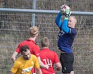 FODBOLD: William Munch Frederiksen (Helsinge) under kampen i Serie 1 mellem Helsinge Fodbold og Ølstykke FC den 14. april 2018 på Helsinge Stadion. Foto: Claus Birch.
