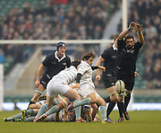 Twickenham. UK.   Oxfords John CARTER, moves in  to block, Harry PECK's,  clearance kick from behind the scrum during the 2013 Varsity Rugby Match,  Oxford vs Cambridge, played on  Thursday  12/12/2013, at the RFU Stadium.  Surrey, England  [Mandatory Credit. Peter Spurrier/Intersport Images]
