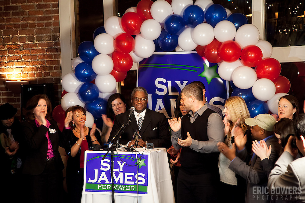 At the watch party for Sly James' campaign for mayor of Kansas City MO in the primary race as he advances to the general election.