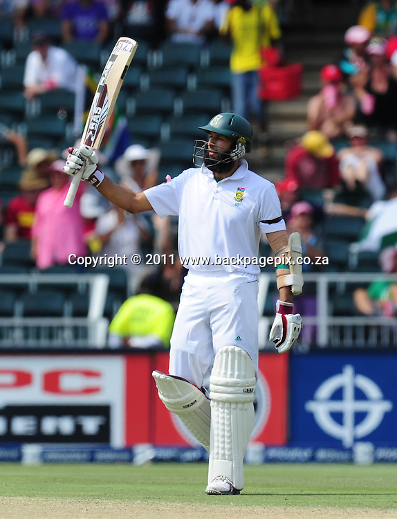 Hashim Amla of South Africa celebrates his 50 <br /> &copy; Barry Aldworth/Backpagepix