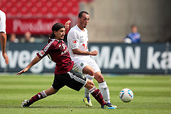 13.08.2011, easy Credit Stadion, Nuernberg, GER, 1.FBL, 1. FC Nürnberg / Nuernberg vs , im Bild:.Almog Cohen (Nuernberg #18) gg Sergio Pinto (Hannover #7).// during the Match GER, 1.FBL, 1. FC Nürnberg / Nuernberg vs  on 2011/08/13, easy Credit Stadion, Nuernberg, Germany..EXPA Pictures © 2011, PhotoCredit: EXPA/ nph/  Will       ****** out of GER / CRO  / BEL ******