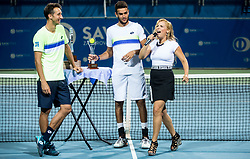 Winner Sergiy Stakhovsky (UKR), Runner up Matteo Berrettini (ITA) and Anika Horvat during Trophy ceremony after the Final match of ATP Challenger Zavarovalnica Sava Slovenia Open 2017, on August 12, 2017 in Sports centre, Portoroz/Portorose, Slovenia. Photo by Vid Ponikvar / Sportida