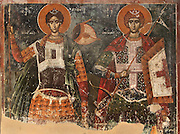 Fresco of 2 prophets, 1578, by Nikolla Onufri, son of Onufri, in the 13th century Church of St Mary of Blachernae or Kisha e Shen Meri Vllahernes inside Berat Castle or Kalaja e Beratit, in Berat, South-Central Albania, capital of the District of Berat and the County of Berat. Picture by Manuel Cohen