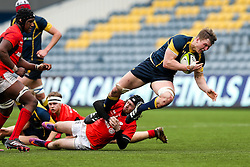 Ted Hill (Worcester Sixth Form College) (capt) of Worcester Warriors U18 is tackled - Rogan Thomson/JMP - 16/02/2017 - RUGBY UNION - Sixways Stadium - Worcester, England - Worcester Warriors U18 v Saracens U18 - Premiership Rugby Under 18 Academy Finals Day 5th Place Play-Off.