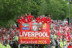LIVERPOOL, ENGLAND - THURSDAY, MAY 26th, 2005: Liverpool fans cheer on the players as they parade the European Champions Cup on on open-top bus tour of Liverpool in front of 500,000 fans after beating AC Milan in the UEFA Champions League Final at the Ataturk Olympic Stadium, Istanbul. (Pic by David Rawcliffe/Propaganda)