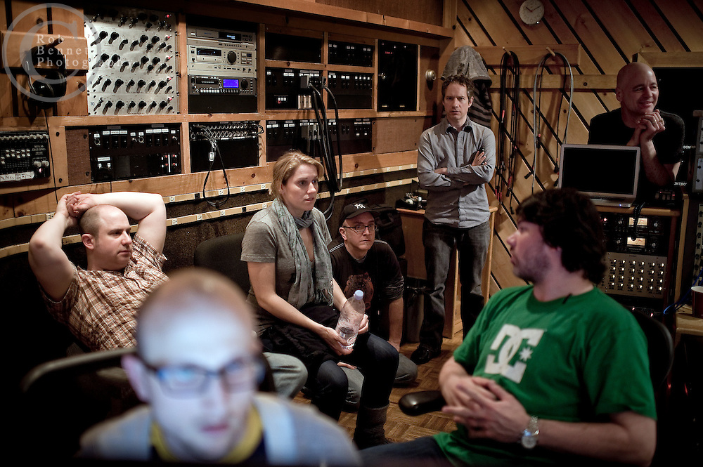 New York, NY : Mar 17/18, 2011:.The team discussing their progress. (L to R) James Sampliner, Bob Mallory (assistant engineer), Julie Reiber, Steve Count (bass), Chris Biesterfel (acoustic guitar),  Rob Killenberger (engineer), Sammy Merendino (percussion)..---.Photo by Rob Bennett.