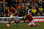 Nottingham Forest forward Jamie Ward fouls Watford defender, on loan from Chelsea, Nathan Ake  during the The FA Cup fourth round match between Nottingham Forest and Watford at the City Ground, Nottingham, England on 30 January 2016. Photo by Simon Davies.