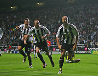 Photo: Andrew Unwin.<br /> Newcastle United v Fenerbahce. UEFA Cup. 19/10/2006.<br /> Newcastle's Antoine Sibierski (R) celebrates scoring his team's first goal.