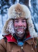 North Hiebert, a handler for Torsten Kohnert, at the Dawson City dog yard in Dawson City, Yukon during the Yukon Quest on Feb. 8, 2017. Photo by Marissa Tiel