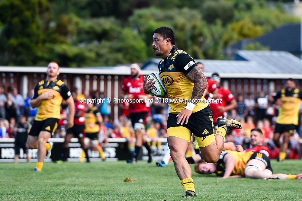 Ben Lam of the Hurricanes  during the Preseason Super Rugby match Crusaders V Hurricanes, Rugby Park, Greymouth, New Zealand, 2nd Febuary 2018.Copyright photo: John Davidson / www.photosport.nz