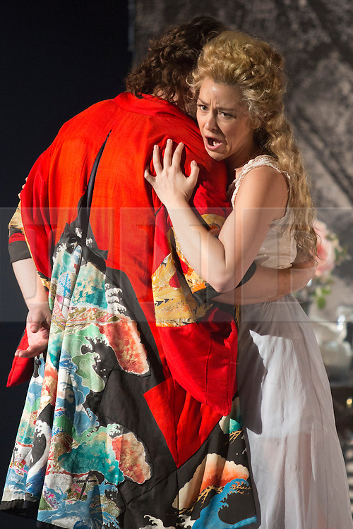 """© Licensed to London News Pictures. 02/06/2014. London, England. Michael Spyres as Benvenuto Cellini. Dress rehearsal of the Hector Berlioz opera """"Benvenuto Cellini"""" at the London Coliseum. Directed by Monty Python and movie director Terry Gilliam for the English National Opera. Benvenuto Cellini opens on 5 June for 8 performances. As part of ENO Screen, the opera will be broadcast live to over 300 cinemas in the UK and Ireland and selected cinemas worldwide on 17 June 2014. Co-production with De Nederlandse Opera, Amsterdam and Teatro dell'Opera di Roma. Michael Spyres as Benvenuto Cellini, Pavlo Hunka as Balducci, Corinne Winters as Teresa, Nicholas Pallesen as Fieramosca and Willard White as Pope Clement VII. Photo credit: Bettina Strenske/LNP"""