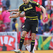 HARRISON, NEW JERSEY- OCTOBER 16:  Adam Jahn #12 of Columbus Crewnin action during the New York Red Bulls Vs Columbus Crew SC MLS regular season match at Red Bull Arena, on October 16, 2016 in Harrison, New Jersey. (Photo by Tim Clayton/Corbis via Getty Images)