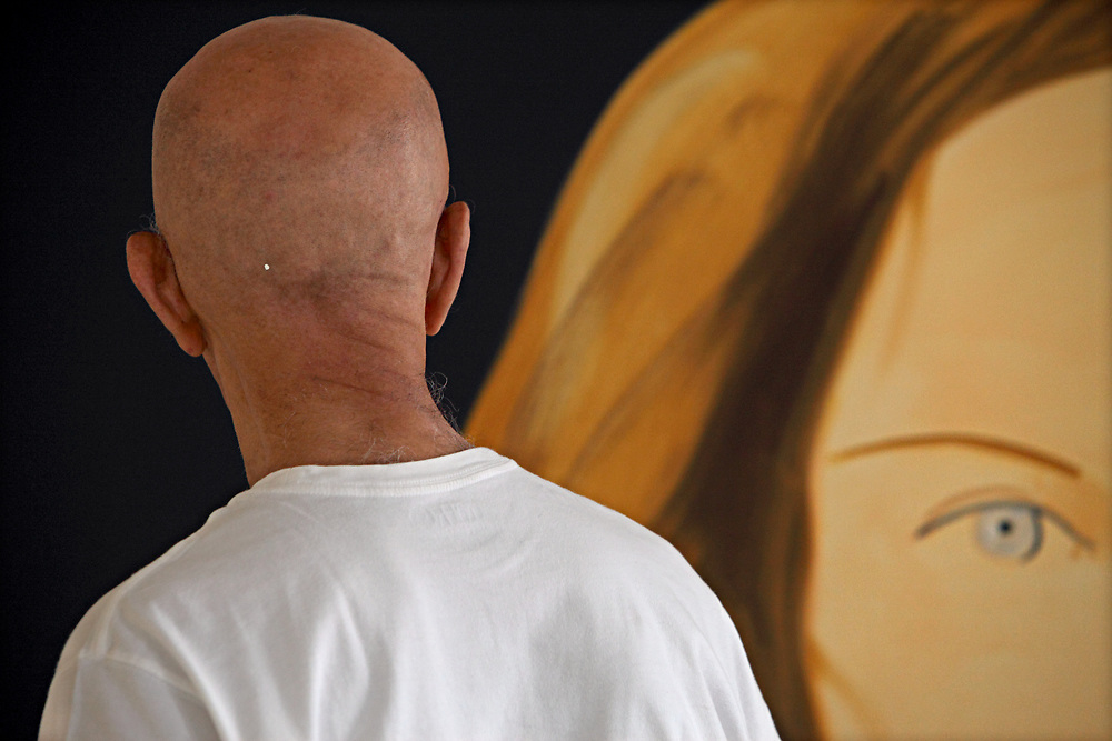 Alex Katz works on new paintings in his studio in NYC. Katz, born July 24, 1927, is an American figural artist associated with the Pop art movement. In particular, he is known for his paintings, sculptures, and prints. Alex Katz is represented by PaceWildenstein in New York. His most recent solo-exhibition is of new large-scale landscape paintings of twilight and sunsets, Alex Katz: Fifteen Minutes, at PaceWildenstein's gallery from April 24 through June 13, 2009.