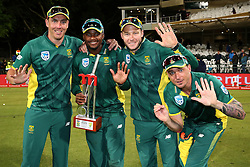 Kyle Abbott of South Africa, Andile Phehlukwayo of South Africa, David Miller of South Africa and Dale Steyn of South Africa celebrate after South Africa won the series 5-0 during the 5th ODI match between South Africa and Australia held at Newlands Stadium in Cape Town, South Africa on the 12th October  2016<br /> <br /> Photo by: Shaun Roy/ RealTime Images