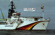 U2 and the Rainbow Warrior ship -  Greenpeace protest at the Sellafield Nuclear Plant in June 1992.