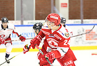 2018-11-21 | Ljungby, Sweden: Troja-Ljungby (24) Hampus Olsson during the game between Troja Ljungby and Hanhals Kings at Ljungby Arena ( Photo by: Fredrik Sten | Swe Press Photo )<br /> <br /> Keywords: Icehockey, Ljungby, HockeyEttan, Troja Ljungby, Hanhals Kings, Ljungby Arena