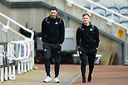 Fabian Schar (#5) of Newcastle United and Matt Ritchie (#11) of Newcastle United arrive ahead of the The FA Cup match between Newcastle United and Oxford United at St. James's Park, Newcastle, England on 25 January 2020.