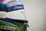 October 8, 2015: Russian GP 2015: Felipe Massa's helmet, Williams Martini Racing
