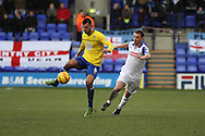 Coventry City's Conor Thomas get away from Tranmere Rovers' Jason Koumas (r). Skybet football league 1match, Tranmere Rovers v Coventry city at Prenton Park in Birkenhead, England on Saturday 22nd Feb 2014.<br /> pic by Chris Stading, Andrew Orchard sports photography.