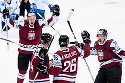 Team Latvia celebrate goal during ice-hockey match between Latvia and Finland of Group D of IIHF 2011 World Championship Slovakia, on May 2, 2011 in Orange Arena, Bratislava, Slovakia. (Photo by Matic Klansek Velej / Sportida)