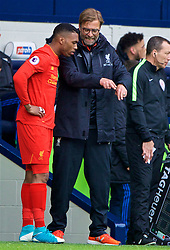 WEST BROMWICH, ENGLAND - Easter Sunday, April 16, 2017, 2016: Liverpool's manager Jürgen Klopp prepares to bring on substitute Daniel Sturridge against West Bromwich Albion during the FA Premier League match at the Hawthorns. (Pic by David Rawcliffe/Propaganda)