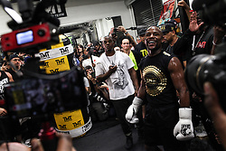 August 10, 2017 - Las Vegas, Nevada, USA - FLOYD MAYWEATHER JR. performs a workout during a media day at the Mayweather Boxing Club in Las Vegas, Nevada. Mayweather Jr. will fight Connor McGregor at the T-Mobile Arena in Nevada on August 26. (Credit Image: © Joel Angel Juarez via ZUMA Wire)