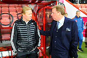 Southampton manager Ronald Koeman talking to Harry Redknapp before the Barclays Premier League match between Bournemouth and Southampton at the Goldsands Stadium, Bournemouth, England on 1 March 2016. Photo by Graham Hunt.