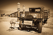 Dodge truck and gas pumps at the Boone Store, Bodie State Historic Park, California USA